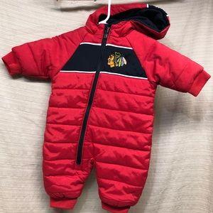 NHL Chicago Blackhawks Baby Zip Hood SnowSuit EUC